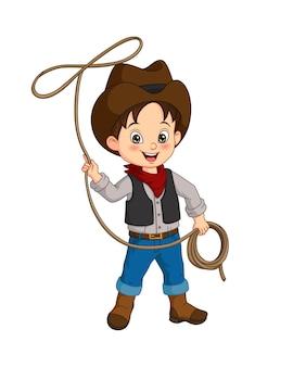 Dessin animé, heureux, cowboy, à, lasso