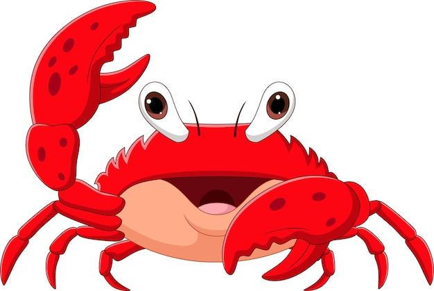 Dessin animé heureux crabe isolé