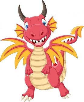 Dessin animé heureux dragon rouge debout