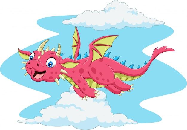 Dessin animé heureux dragon rouge volant