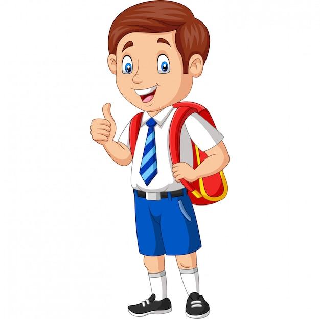 Dessin animé heureux écolier en uniforme qui donne un pouce