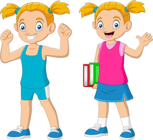 Dessin animé, heureux, écolière, porter, livre