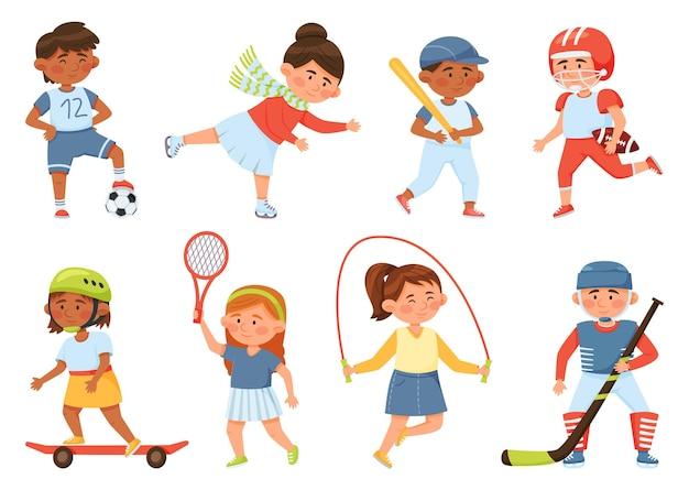Dessin animé heureux écoliers font du sport et exercent des activités pour enfants ensemble de vecteurs de tennis de baseball