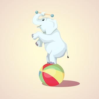 Dessin animé heureux éléphant de cirque sur l'illustration vectorielle ballon