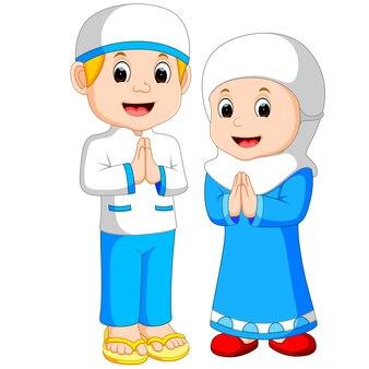 Dessin animé heureux enfant musulman