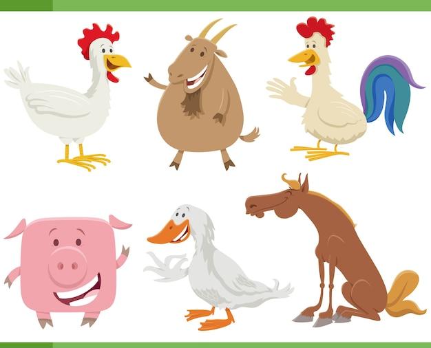 Dessin animé heureux jeu de caractères animaux de ferme