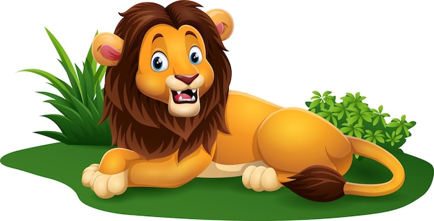 Dessin animé heureux lion assis dans l'herbe