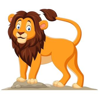 Dessin animé, heureux, lion, blanc