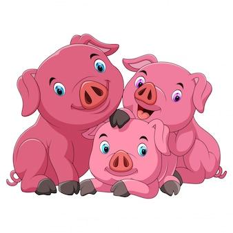 Dessin animé heureux mère de cochon avec des porcelets
