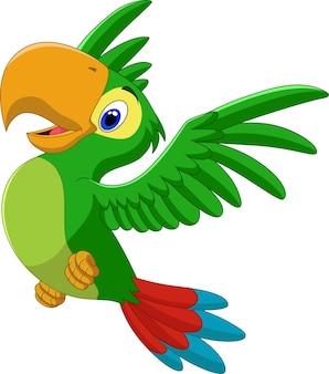 Dessin animé heureux perroquet volant