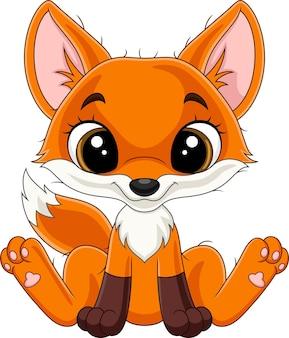 Dessin animé heureux petit renard assis