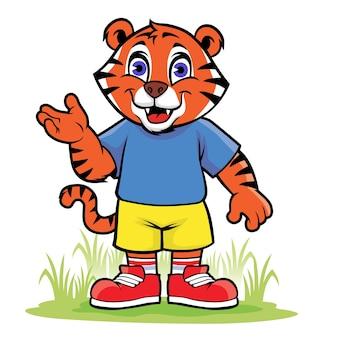 Dessin animé heureux petit tigre