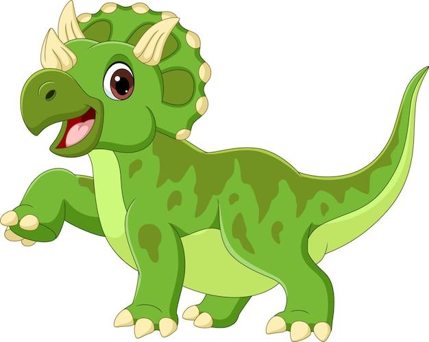 Dessin animé, heureux, tricératops