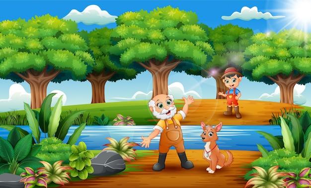 Dessin animé heureux vieux fermier et petit fermier avec chien dans le parc