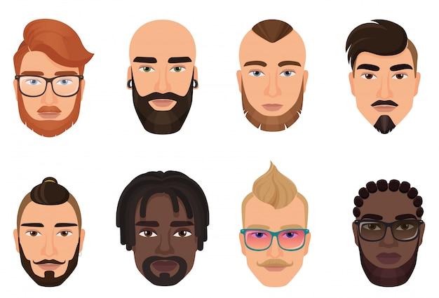 Dessin animé hipsters barbus hommes gars avatars avec des coiffures modernes, des moustaches et des barbes isolés.