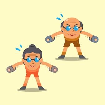 Dessin animé, homme aîné, et, femme, faire, haltère, penché, sur, élévation latérale, exercice