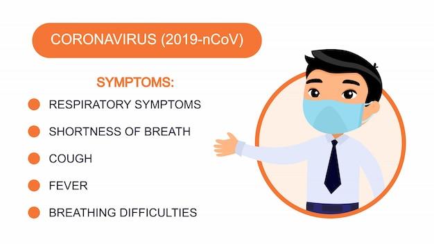 Dessin animé homme asiatique dans un costume de bureau pointe vers une liste de symptômes de coronavirus. personnage avec un masque de protection sur son visage. infographie de protection contre les virus.