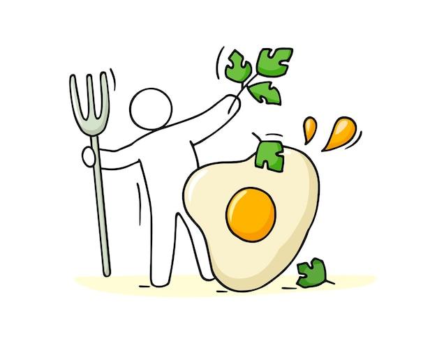 Dessin animé homme cuisinier omelette