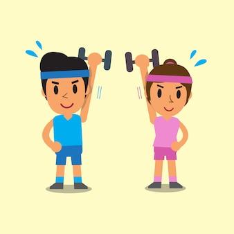 Dessin animé, homme femme, faire, exercice haltère