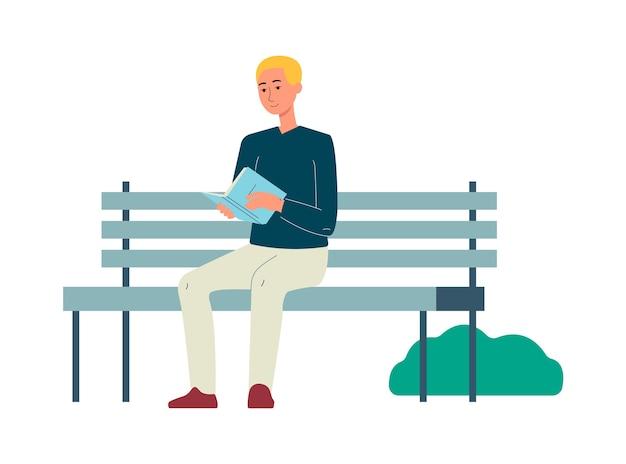 Dessin animé, homme, lecture livre, sur, banc parc