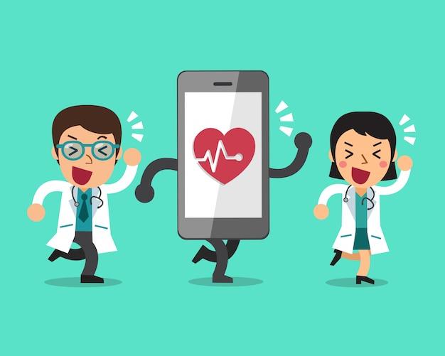 Dessin animé homme médecin et femme médecin avec grand smartphone