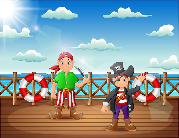 Dessin animé homme pirate sur les ponts d'un navire