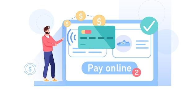 Dessin animé homme plat personnage transfert argent en ligne acheter des marchandises