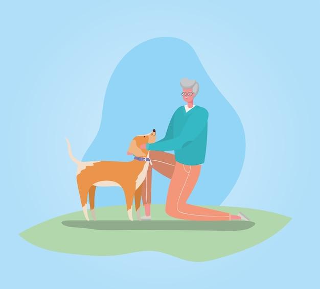 Dessin animé homme senior avec conception de marche de chien, thème de l'activité de plein air