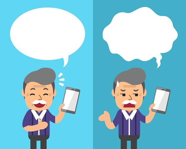 Dessin animé un homme senior avec smartphone exprimant différentes émotions avec des bulles
