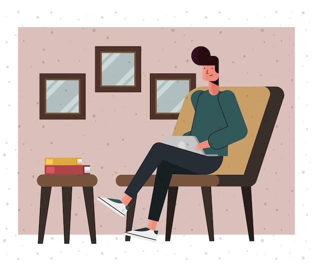 Dessin animé homme sur siège avec ordinateur portable à la conception de la maison, thème de la technologie numérique et de la communication