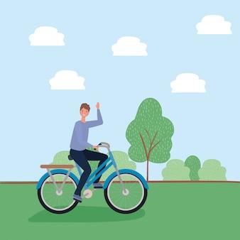 Dessin animé homme vélo au parc avec la conception de vecteur d'arbre