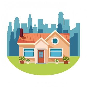 Dessin animé icône de bâtiment isolé