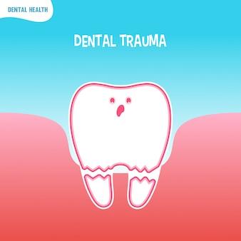 Dessin animé icône de mauvaise dent avec traumatisme dentaire