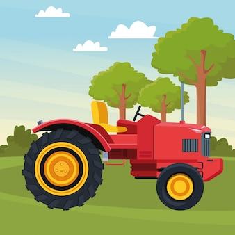 Dessin animé icône de tracteur