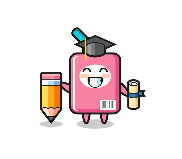 Le dessin animé d'illustration de boîte de lait est l'obtention du diplôme avec un crayon géant, un design de style mignon pour un t-shirt, un autocollant, un élément de logo