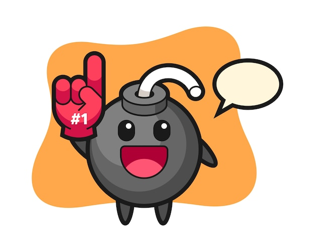 Dessin animé illustration bombe avec gant de fans de numéro