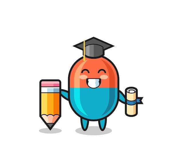 Le dessin animé d'illustration de capsule est l'obtention du diplôme avec un crayon géant, un design de style mignon pour un t-shirt, un autocollant, un élément de logo