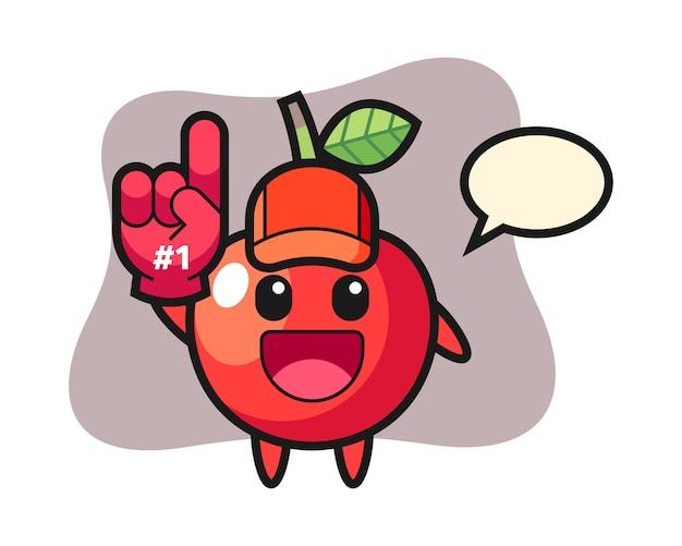 Dessin animé illustration cerise avec gant de fans numéro 1, conception de style mignon