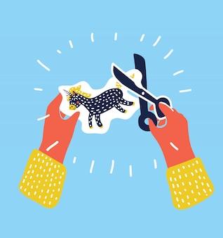 Dessin animé illustration colorée de deux enfants mains coupe papier licorne avec des ciseaux pour applique, illustration de la classe d'art de l'école élémentaire. objet dans un style moderne sur fond bleu.