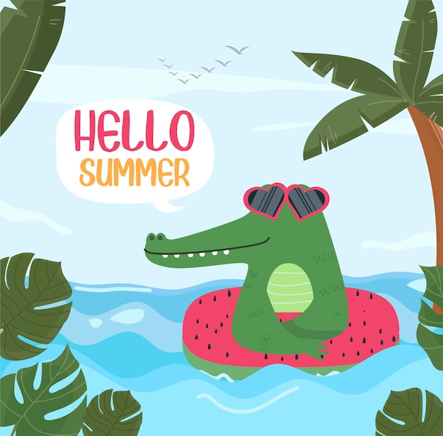 Dessin animé illustration crocodile bonjour été