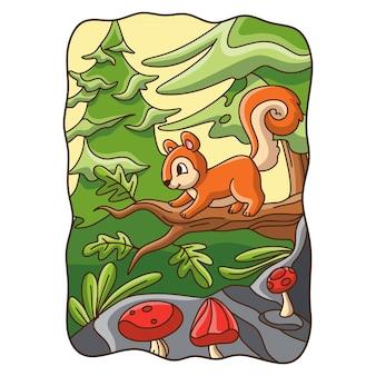 Dessin animé illustration écureuil arbre grimpant