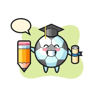 Le dessin animé d'illustration de football est l'obtention du diplôme avec un crayon géant, un design de style mignon pour un t-shirt, un autocollant, un élément de logo