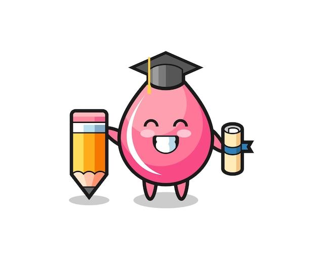 Le dessin animé d'illustration de goutte de jus de fraise est l'obtention du diplôme avec un crayon géant, un design de style mignon pour un t-shirt, un autocollant, un élément de logo