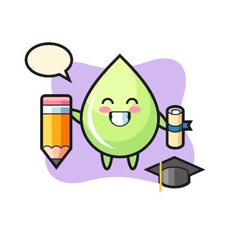Le dessin animé d'illustration de goutte de jus de melon est l'obtention du diplôme avec un crayon géant, un design de style mignon pour un t-shirt, un autocollant, un élément de logo