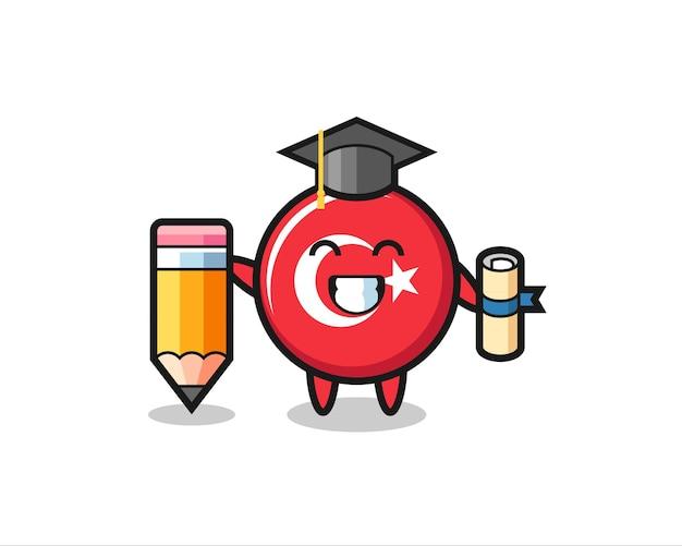 Le dessin animé d'illustration d'insigne de drapeau de la turquie est l'obtention du diplôme avec un crayon géant, un design de style mignon pour un t-shirt, un autocollant, un élément de logo