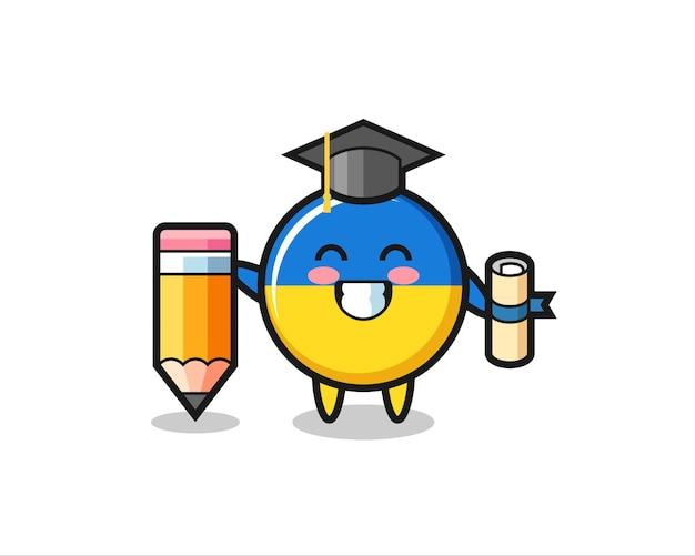 Le dessin animé d'illustration d'insigne de drapeau de l'ukraine est l'obtention du diplôme avec un crayon géant, un design de style mignon pour un t-shirt, un autocollant, un élément de logo
