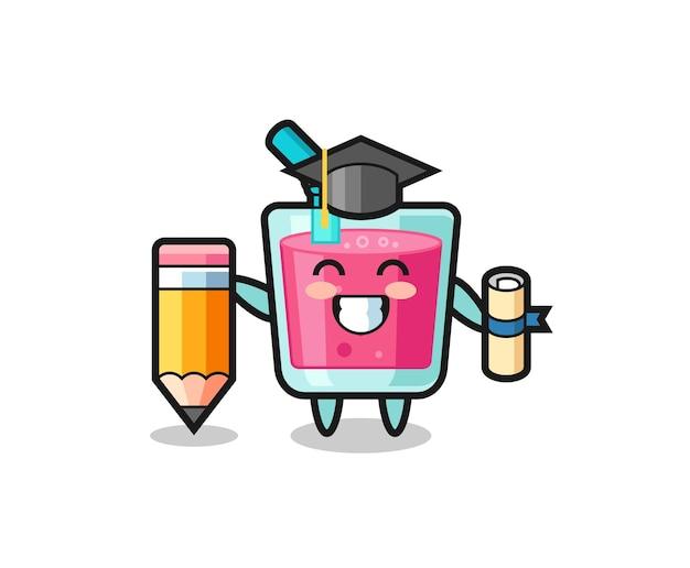 Le dessin animé d'illustration de jus de fraise est l'obtention du diplôme avec un crayon géant, un design de style mignon pour un t-shirt, un autocollant, un élément de logo