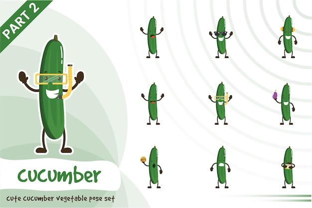 Dessin animé, illustration, de, mignon, concombre, ensemble