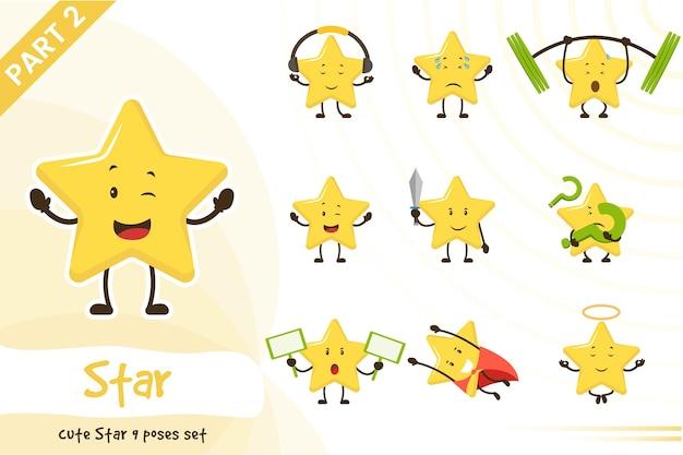 Dessin animé, illustration, de, mignon, étoile, ensemble