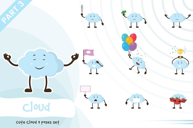 Dessin animé, illustration, de, mignon, nuage, ensemble